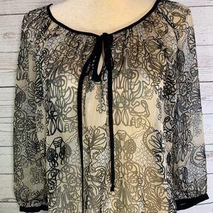 Daniel Rainn V-Neck Boho Floral Sheer Tunic Blouse